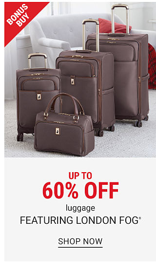 A brown 4 piece wheeled lugagge set. Bonus Buy. Up to 60% off luggage featuring London Fog. Shop now.