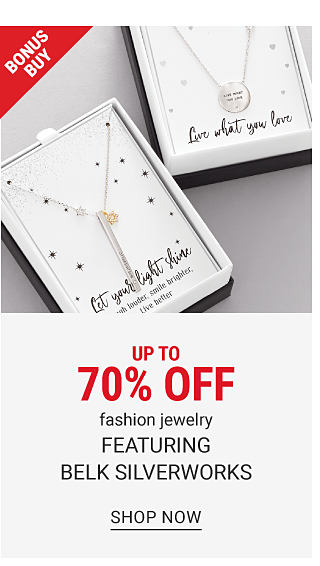 2 different styles of boxed silver tone aspirational pendant necklaces. Up to 70% off fashion jewelry featuring Belk Silverworks. Shop now.