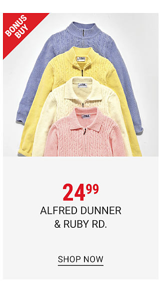 An assortment of women's sweaters in an a variety of pastel colors. $24.99 Alfred Dunner & Ruby Road. Shop now.