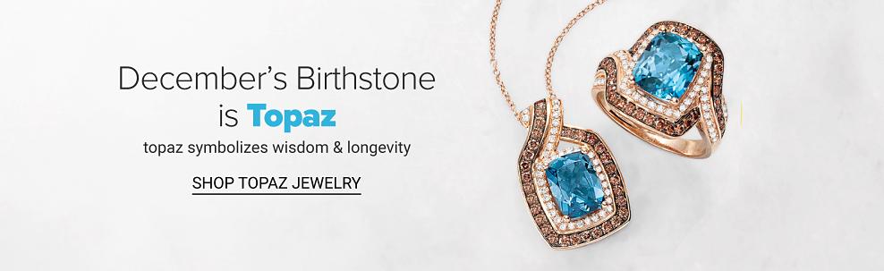 A topaz, gold, diamond & chocolate diamond pendant necklace & a topaz, gold, diamond & chocolate diamond ring. December's Birthstone is Topaz. Topaz symbolizes wisdom & longevity. Shop topaz jewelry.
