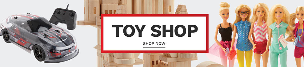 A remote control car and a collection of Barbies. Toy shop. Shop now.
