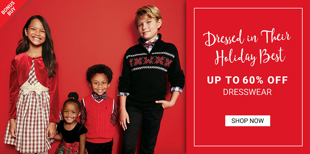 Two little girls in holiday dresses and two little boys in holiday dresswear. Bonus buy. Dressed in their holiday best. Up to 60% off dresswear. Shop now.