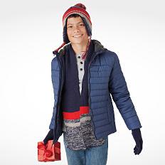 A boy wearing winter clothing Shop outerwear