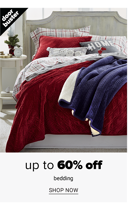 A bed made with a red quilt, white, red & gray plaid sheets & matching pillows with a blue & white reversible quilt on top. Doorbuster. Up to 60% off bedding. Shop now.