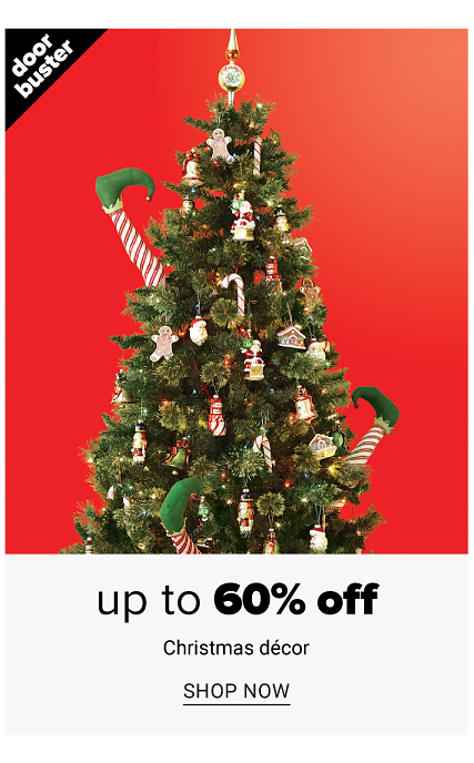 A fully decorated Christmas tree. Doorbuster. Up to 60% off Christmas decor. Shop now.