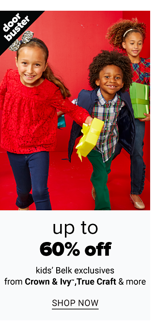A girl wearing a red long sleeved top & blue jeans standing next to a boy wearing a blue fleece vest over a red, black & white plaid long sleeved button front shirt & green pants & a girl wearing a red & green plaid long sleeved top & blue jeans. Doorbuster. Up to 60% off kids Belk Exclusives from Crown & Ivy, True Craft & more. Shop now.