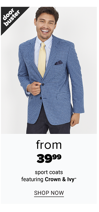 A man wearing a light blue & dark blue check sport coat over a light blue dress shirt, light yellow tie & blue jeans. Doorbuster. From $39.99 sport coats featuring Crown & Ivy. Shop now.