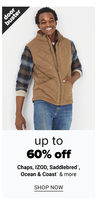 A man wearing a beige fleece vest over a multi colored plaid long sleeved shirt & blue jeans. Doorbuster. Up to 60% off Chaps, Izod, Saddlebred, Ocean & Coast & more. Shop now.