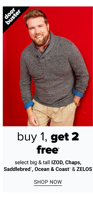 A man wearing a dark gray V neck sweater over a multi colored plaid long sleeved button front shirt & beige pants. Doorbuster. Buy 1, Get 2 Free select big & tall Izod, Chaps, Saddlebred, Ocean & Coast & Zelos. Shop now.