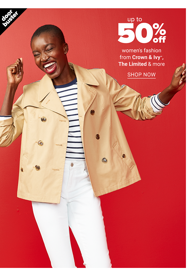 A woman wearing a beige peacoat over a white & blue horizontal striped long sleeved top & white pants. Doorbuster. Up to 50% off women's fashion from Crown & Ivy, The Limited & more. Shop now.