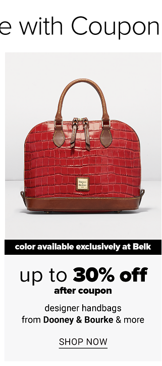 A red croco leather handbag. Color available exclusively at Belk. Up to 30% off designer handbags from Dooney & Bourke after coupon. Shop now.