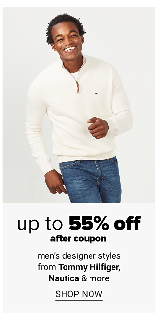 A man wearing a white sweater & blue jeans. Up to 55% off men's designer styles from Tommy Hilfiger, Nautica & more after coupon. Shop now.