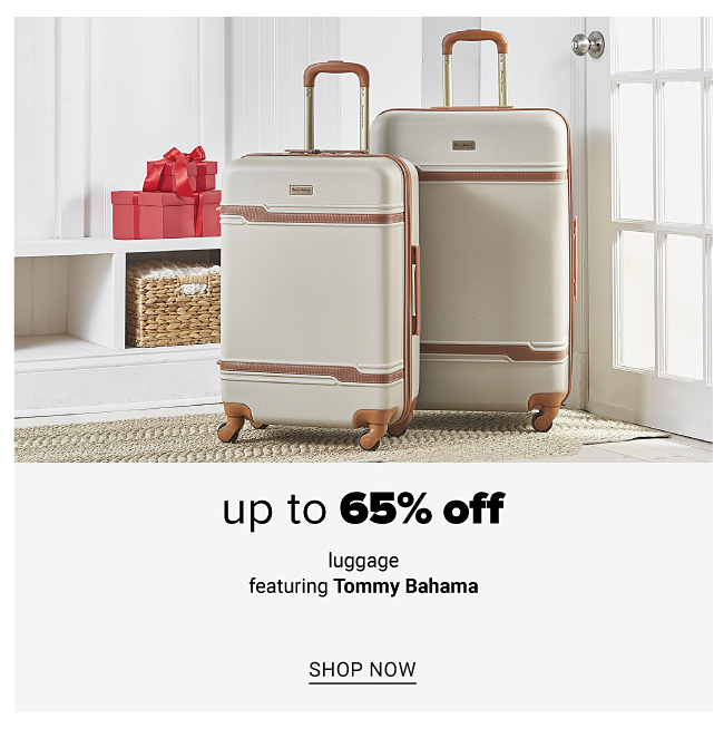 Two white wheeled suitcases with brown handles & trim. Up to 65% off luggage featuring Tommy Bahama. Shop now.