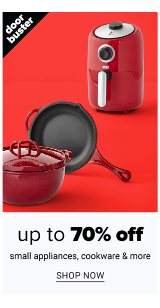 A red ceramic lidded pot, a red handled skillet & a red air fryer. Doorbuster. Up to 70% off small appliances, cookware & more. Shop now.