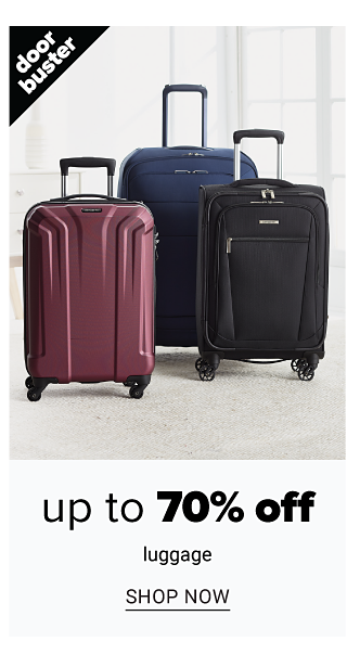 An assortment of hardside wheeled suitcases in a variety of colors. Doorbuster. Up to 70% off luggage. Shop now.