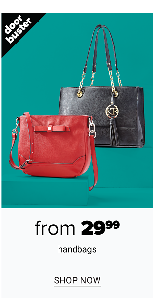 A red leather handbag & a black leather handbag. Doorbuster. From $29.99 handbags. Shop now.