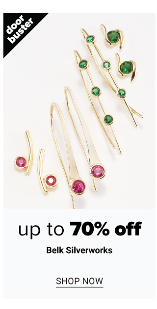 An assortment of gold tone, red gem stone & green gem stone earrings & bracelets. Doorbuster. Up to 70% off Belk Silverworks. Shop now.