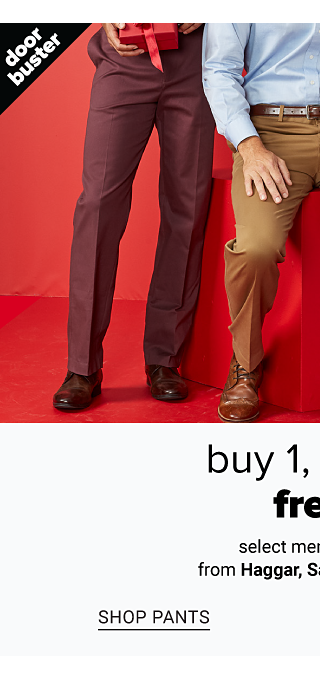 A man wearing burgundy pants & black shoes standing next to a man wearing a light blue dress shirt, brown pants & brown shoes & a man wearing a white dress shirt, gray pants & black shoes. Doorbuster. Buy 1, Get 2 Free select men's pants from Haggar, Savane & more. Shop pants.