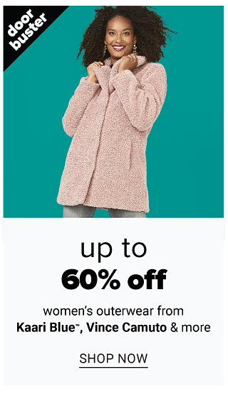 A woman wearing a light pink teddy bear coat. Doorbuster. Up to 60% off women's outerwear from Kaari Blue, Vince Camuto & more. Shop now.