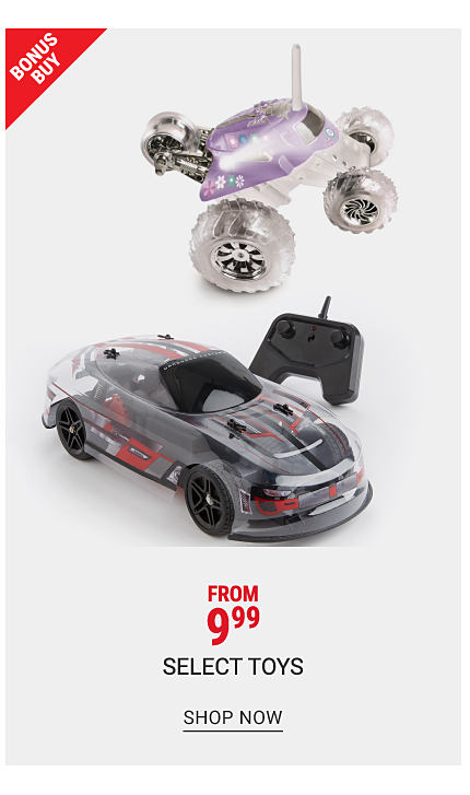 Two different styles of remote control vehicles & a remote control unit. Bonus Buy. From $9.99 select toys. Shop now.