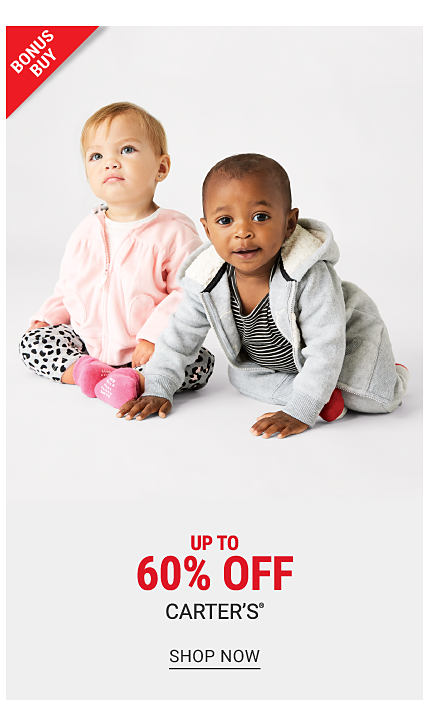 A baby girl wearing a pink hoodie over a white top, white pants with a black dot print & pink socks sitting next to a baby boy wearing a gray hoodie, a black & white horizontal striped shirt & gray pants. Bonus Buy. Up to 60% off Carter's. Shop now.