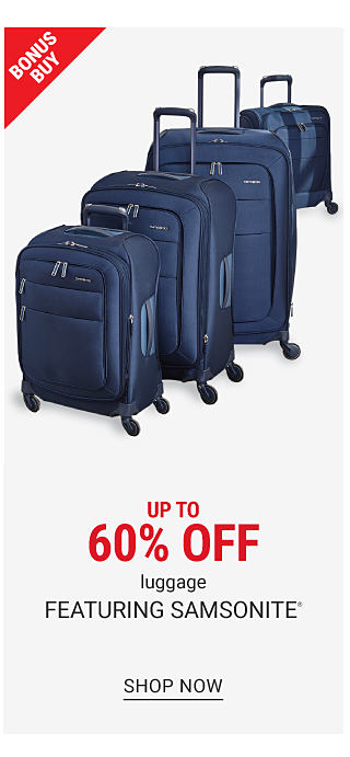 A navy & yellow wheeled duffel bag & a red, blue & gray wheeled duffel bag. Bonus Buy. Up to 60% off luggage featuring $59.99 Nautica. Shop now.