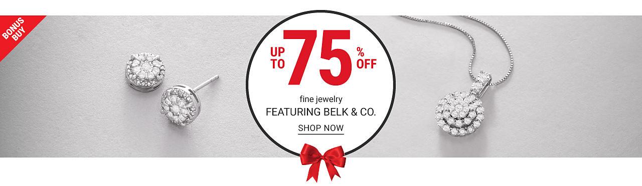 A pair of diamond & silver earrings & a diamond & silver pendant necklace. Bonus Buy.