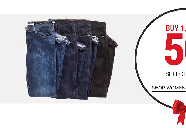 An assortment of jeans in a variety of colors & styles. An assortment of folded Levi's logo T shirts in a variety of colors. Bonus Buy. Buy 1, Get 1 50% off select Levi's. Free or discounted items must be of equal or lesser value. Shop women.