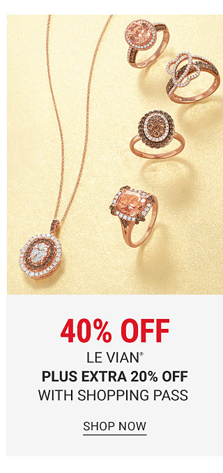 An assortment of diamond, chocolate diamond & gold rings & a diamond, chocolate diamond & gold pendant necklace. 40% off Le Vian fine jewelry plus extra 20% off with shopping pass. Shop now.
