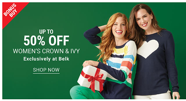 A woman wearing a multi colored vertical striped long sleeved top & green pants sitting next to a woman wearing a navy long sleeved top with a white heart front graphic & white pants. Bonus Buy. Up to 50% off women's Crown & Ivy. Exclusively at Belk. Shop now.