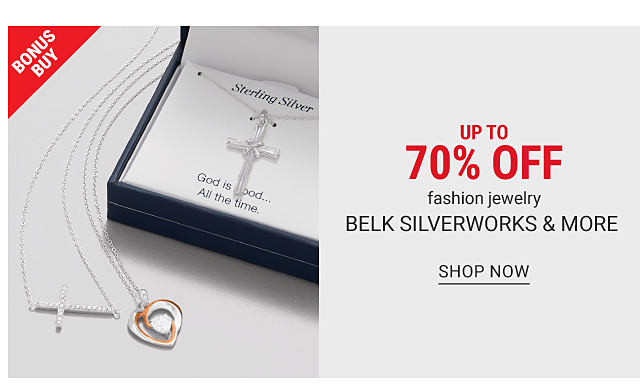 A cross pendant necklace, a heart pendant necklace & a boxed cross pendant necklace. Bonus Buy. Up to 70% off fashion jewelry from Belk Silverworks & more. Shop now.