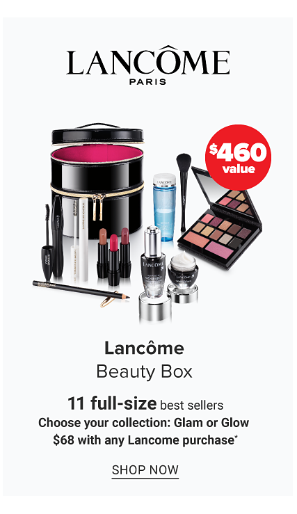 An assortment of Lancome beauty products & a round black zippered makeup case. Lancome Beauty Box. 11 full size best sellers. $68 with any Lancome purchase. A $460. Shop now.