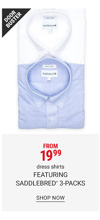 An assortment of folded dress shirts in a variety of colors. Doorbuster. From $19.99 dress shirts featuring Saddlebred three packs. Shop now.