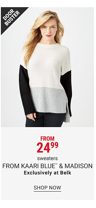 A woman wearing a gray cowl neck sweater, blue jeans & gray sneakers. Doorbuster. From $16.99 juniors sweaters featuring True craft. Shop now.