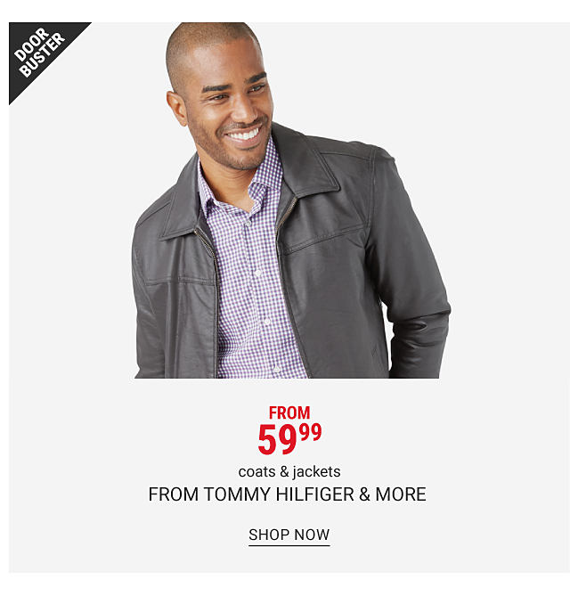 A man in a checkered button front shirt and a leather jacket. Doorbuster. From 59.99 coats and jackets from Tommy Hilfiger and more. Shop now.