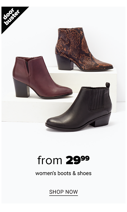 Women's boots in a variety of colors, prints & styles. Doorbuster. From $29.99 women's boots & shoes. Shop now.