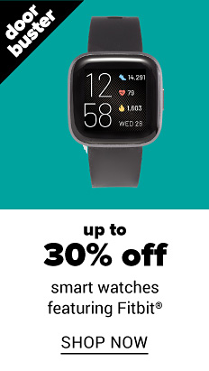 A black smart watch with a digital readout. Doorbuster. Up to 30% off smart watches featuring Fitbit. Shop now.