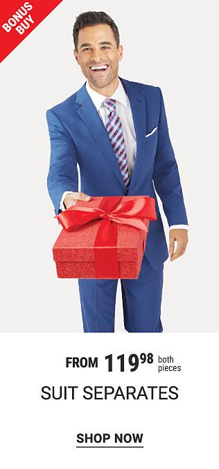 A man wearing a blue suit, a white dress shirt & a blue & white striped tie. Bonus Buy. From $119.98 both pieces suit separates. Shop now.