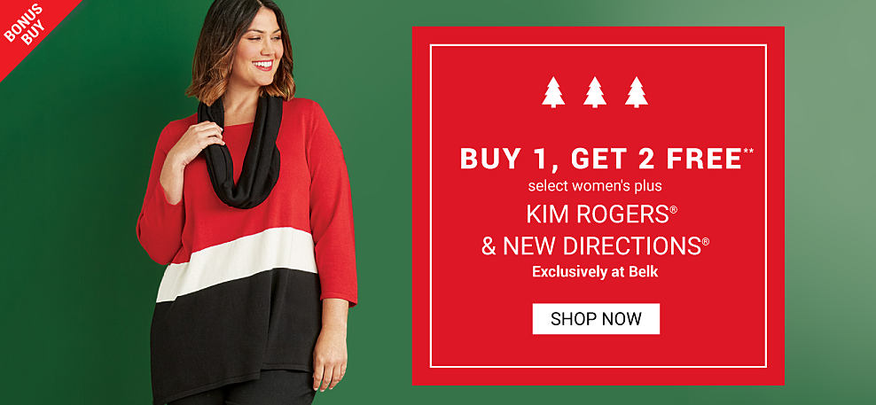 A woman wearing a red, white & black colorblock long sleeved dress & a black inifnity scarf. Buy 1, Get 2 Free select women's plus Kim Rogers & New Directions. Exclusively at Belk. Free or discounted items must be of equal or lesser value. Shop now.