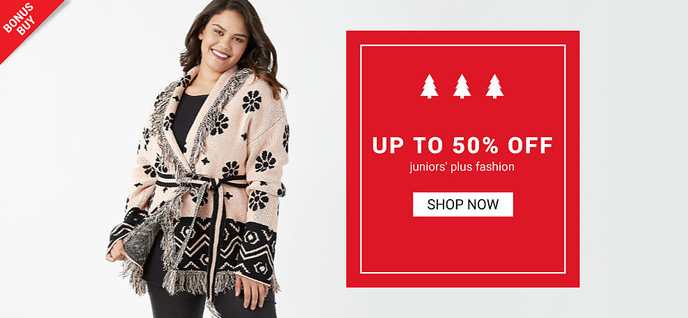 A woman wearing a black & white patterned print belted sweaters, a black top & black pants. Up to 50% off juniors plus fashion. Shop now.