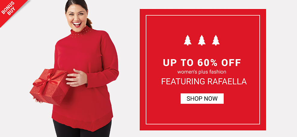 A woman wearing a red turtleneck sweater & black pants. Bonus Buy. Up to 60 off women's plus fashion featuring Rafaella. Shop now.