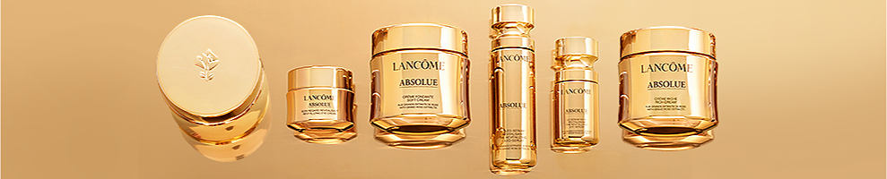 A variety of Lancome anit-aging skincare products. Lancome Paris. New Absolue - Lancome's most comprehensive anti-aging collection for visibly rejuvenated skin. WIth an exclusive blend of Grand Rose Extracts and a unique, transforming texture, this indulgent collection delivers clinically-proven rejuvenation and anti-aging results.