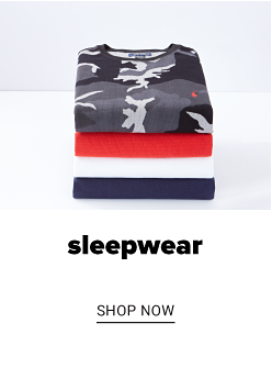 A stack of shirts in a variety of prints and colors. Sleepwear. Shop now.