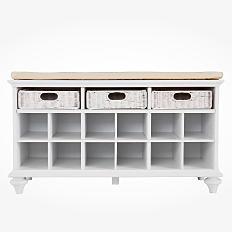 A white, organizational shelf. Shop furniture.