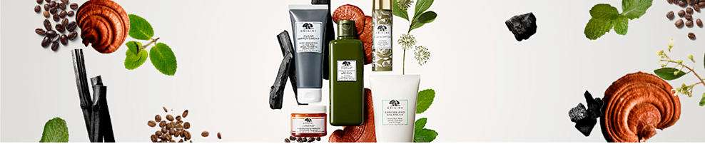 An assortment of Origins beauty products.