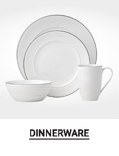 A white dinnerware set. Shop dinnerware.