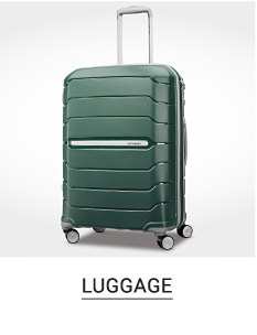 A green spinner luggage bag. Shop luggage.