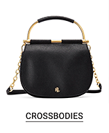 A black crossbody with gold accents. Crossbodies.