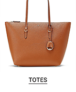 A brown leather tote. Totes.