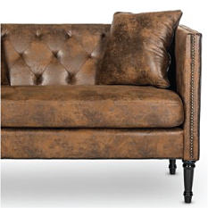 A brown leather couch. Furniture. Shop now.